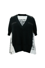 HK$4,700_white&black bandana knitted top with pleats