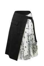 HK$5,600_white&black bandana pleated skirt
